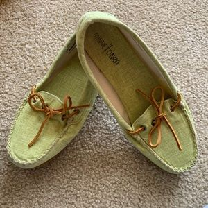 Minnetonka Green Loafers Boat Shoes 9